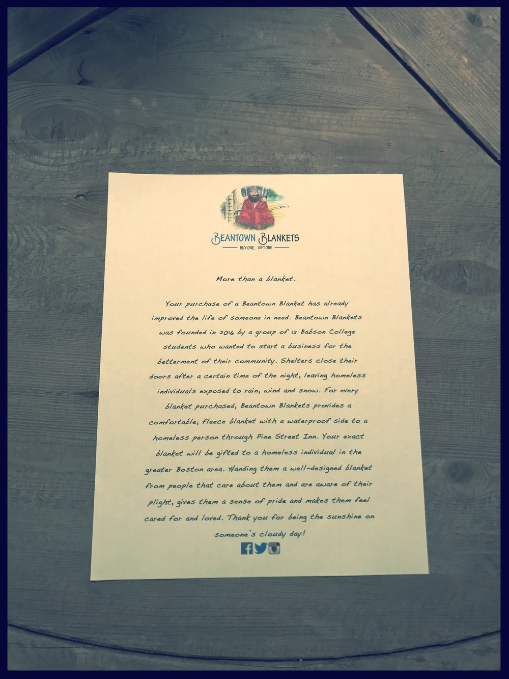 Each blanket is rolled with a letter inside. This letter explains the mission of Beantown Blankets.