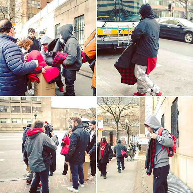 It was amazing to handout blankets to those in need this weekend. Every blanket purchased has tremendous, positive impact on the homeless of Boston. Thank you🎁💕 #charity #boston #homeless