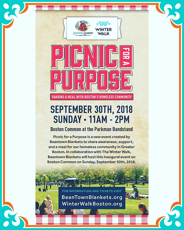 Join us on September 30th! Picnic for a Purpose is a new event created by Beantown Blankets to share support and a meal for our homeless community in Greater Boston. In collaboration with the Winter Walk, Beantown Blankets will host this inaugural event on Boston Common on Sunday, September 30th, 2018 ❤️🍔🌭Visit the link in our bio for more information