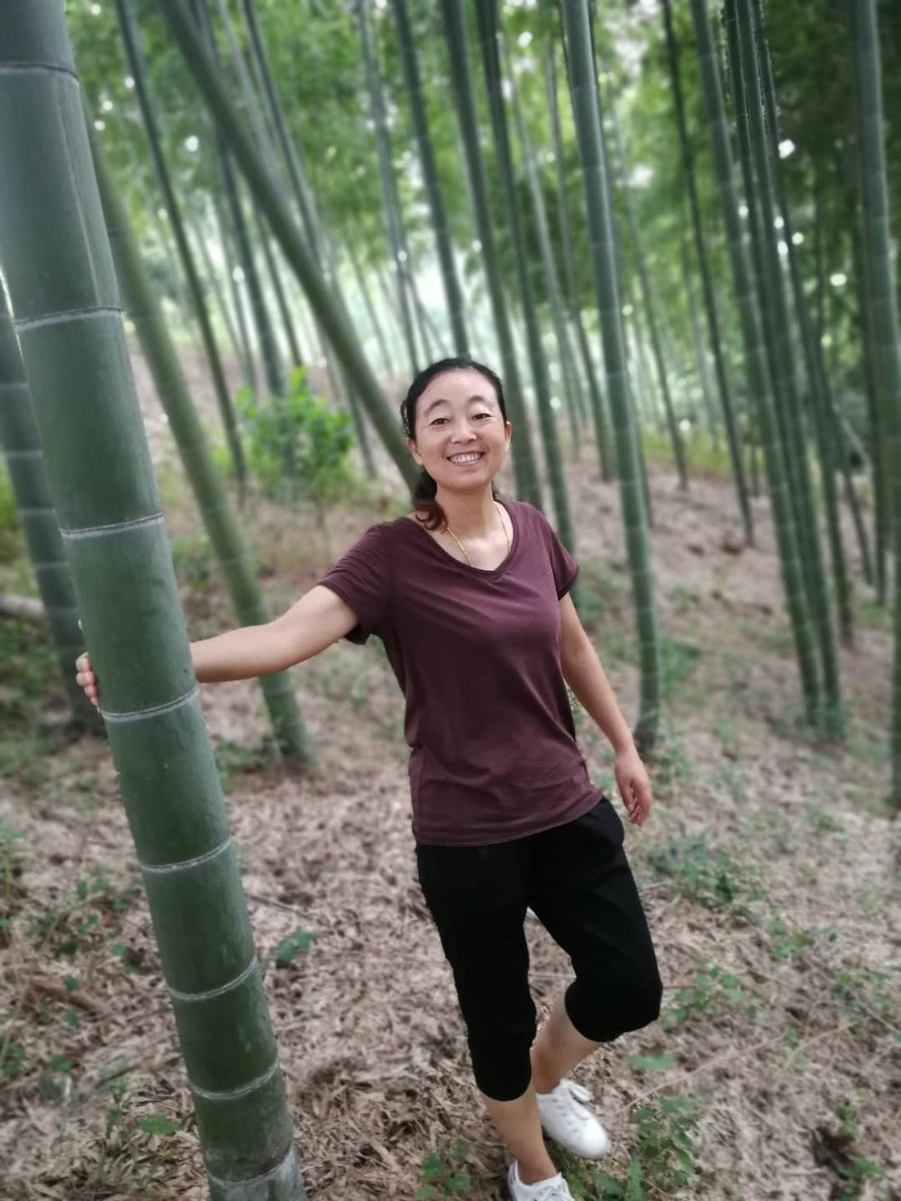 Getting down from her tea gardens. Jin was reminding me to watch my steps. The thick layers of bamboo leaves makes it super slippery and the dried bamboo sticks are pointy.