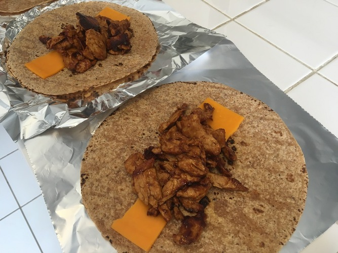 BBQ mock chicken and cheddar cheese