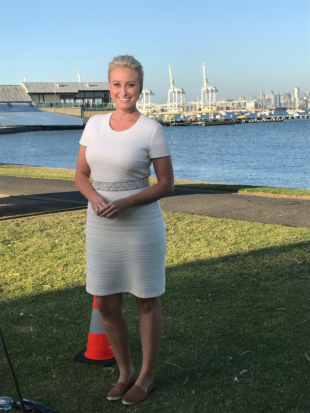 Jane Bunn in the cream version of the Hugo Boss Harleth Quilted Sheath Dress at Williamstown.