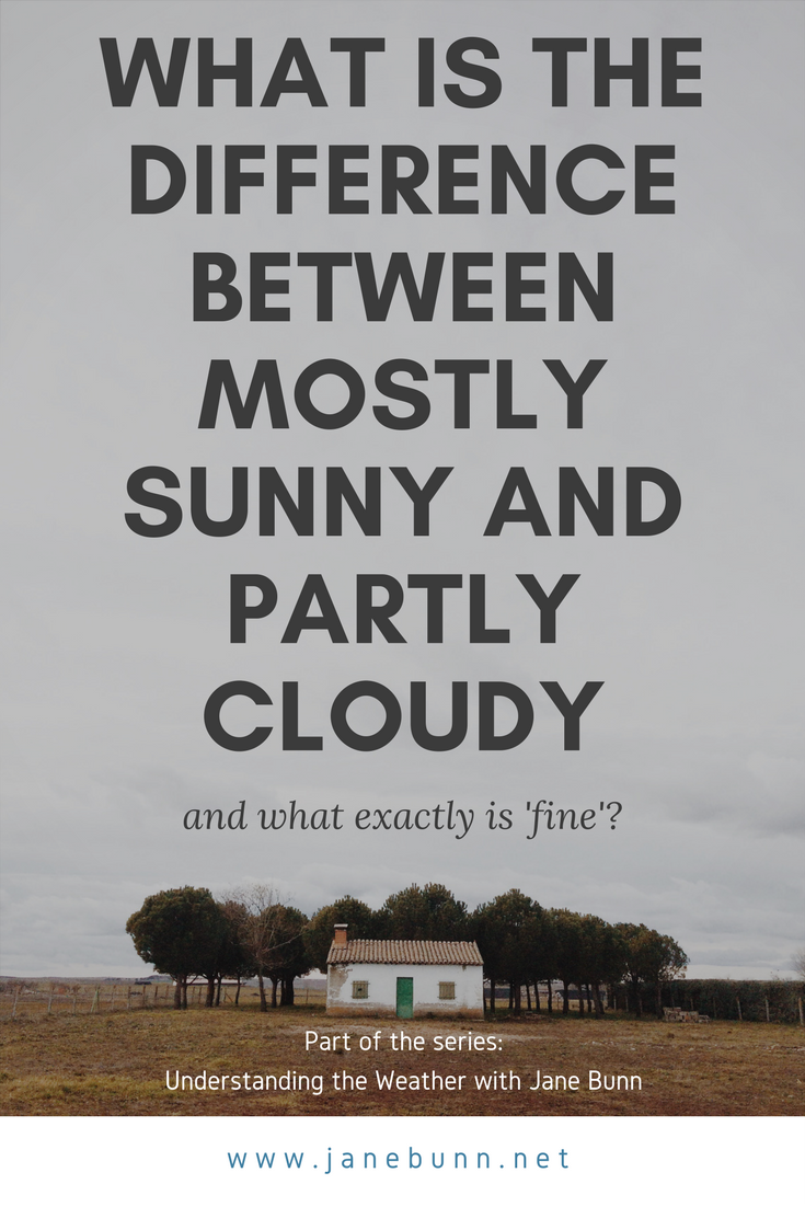 What is the difference between partly cloudy and mostly sunny, and what exactly is fine?