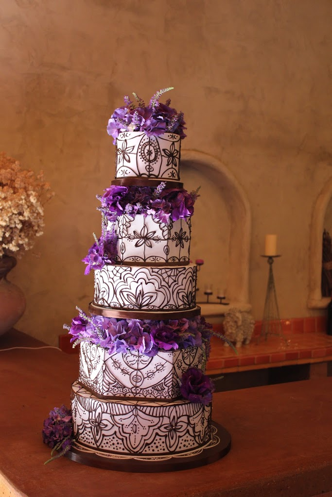 This cake was a recreation of my own wedding cake but in lavender and chocolate colors.