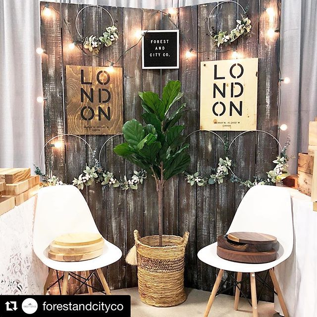 Repost @forestandcityco  All set up for the @londonandkwcraftshows! Show runs today 5-9pm + tomorrow 10-5pm. We've restocked our eucalyptus hoops, #ldnont signs, live-edge bookends, and charcuterie boards, too! 🙌🏻 #reclaimedeverything #swoon