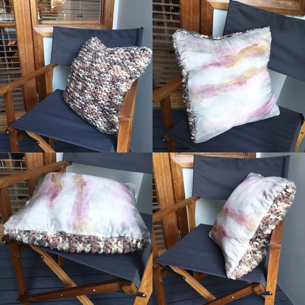 Sketch 19 - Throw cushion hand painted silk with knitted woollen back.
