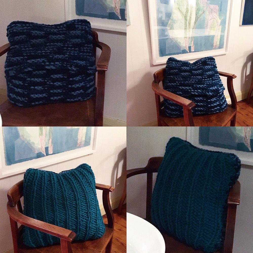 CCC claire cavanna cushion Teal and blue variation