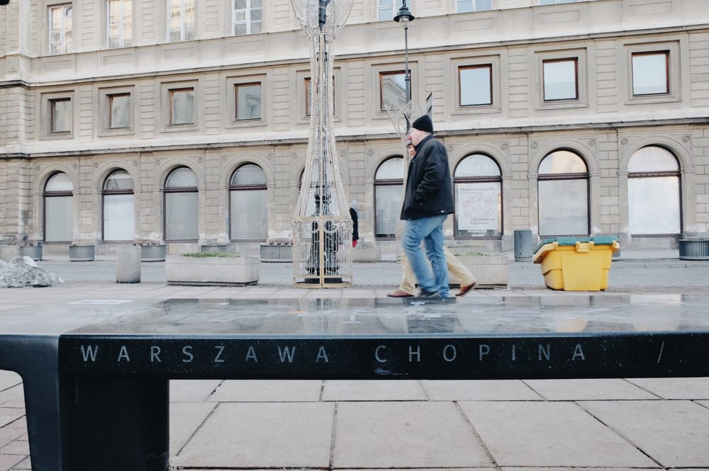 On the way to Old Town there were musical benches that play Chopin's scores!