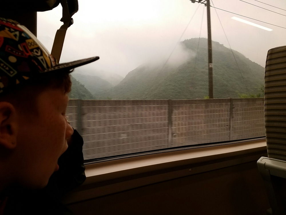 We missed our train back to Beijing because the trains run on different schedules on opposite days. After an additional two hour wait, we were lucky to gets seats this time. Milo was exhausted. And the mountains were wild and disappearing into the fog and dark.