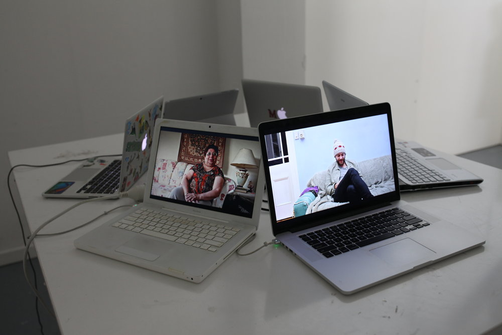 Installation: Separated clips playing on individual, personal laptops.