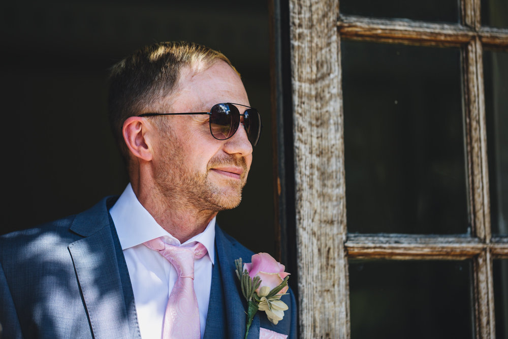 Groom portraits from welsh wedding photographer, cardiff