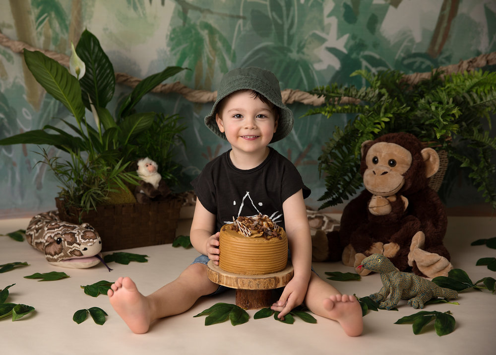 Jungle and monkey themed cake smash in caerphilly, near Cardiff, South Wales