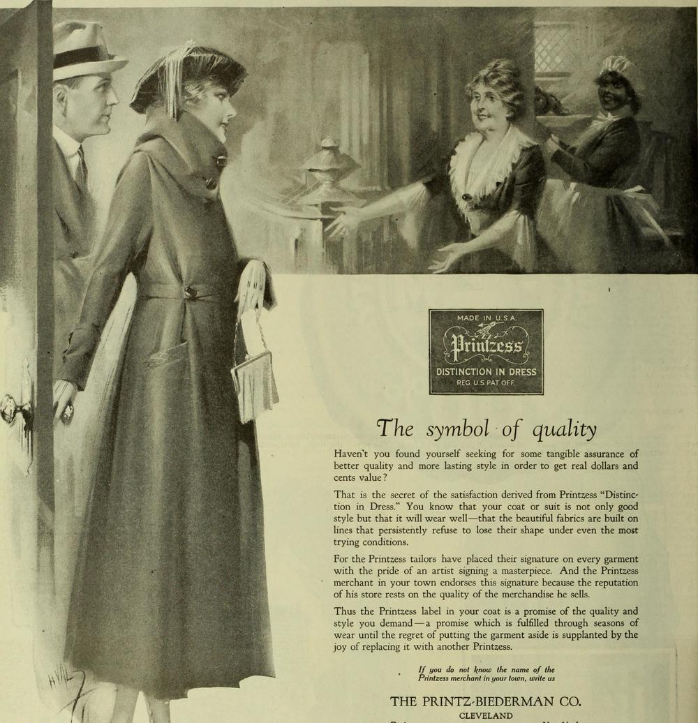 Across the pond, this advert in the Saturday Evening Post (20 November 1920) also preached an emphasis on high quality fabrics and tailoring - similar to the Jaeger branding of the day.