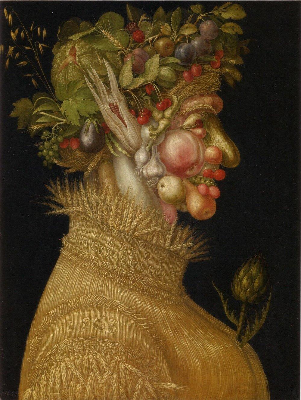 Giuseppe Arcimboldo  The Summer , 1563. Otherwise known as  Mister Gherkin Nose & Peas Teeth