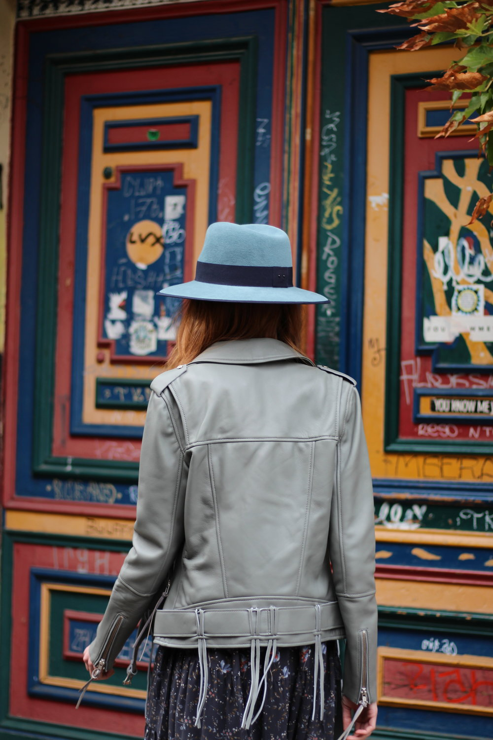Leather jacket ice blue 995€ Size S, M | Blue Hat 325€ Size S