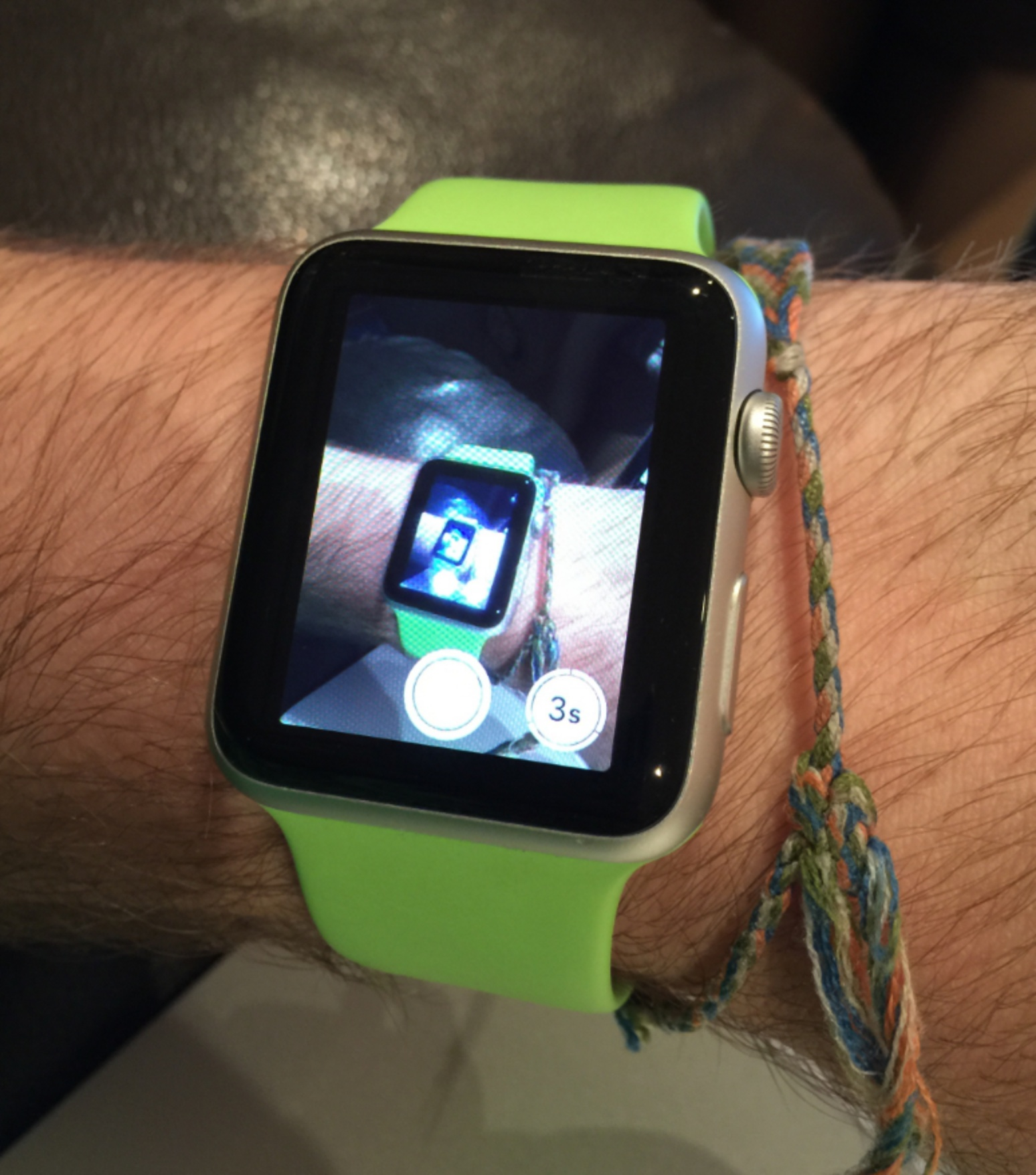 Apple Watch screen showing the phone camera showing the Apple Watch...
