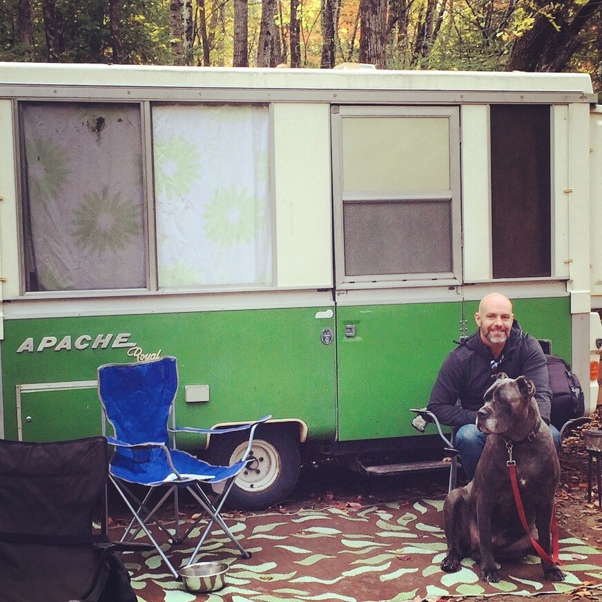 Paul Morrison camping with his dog Odin.