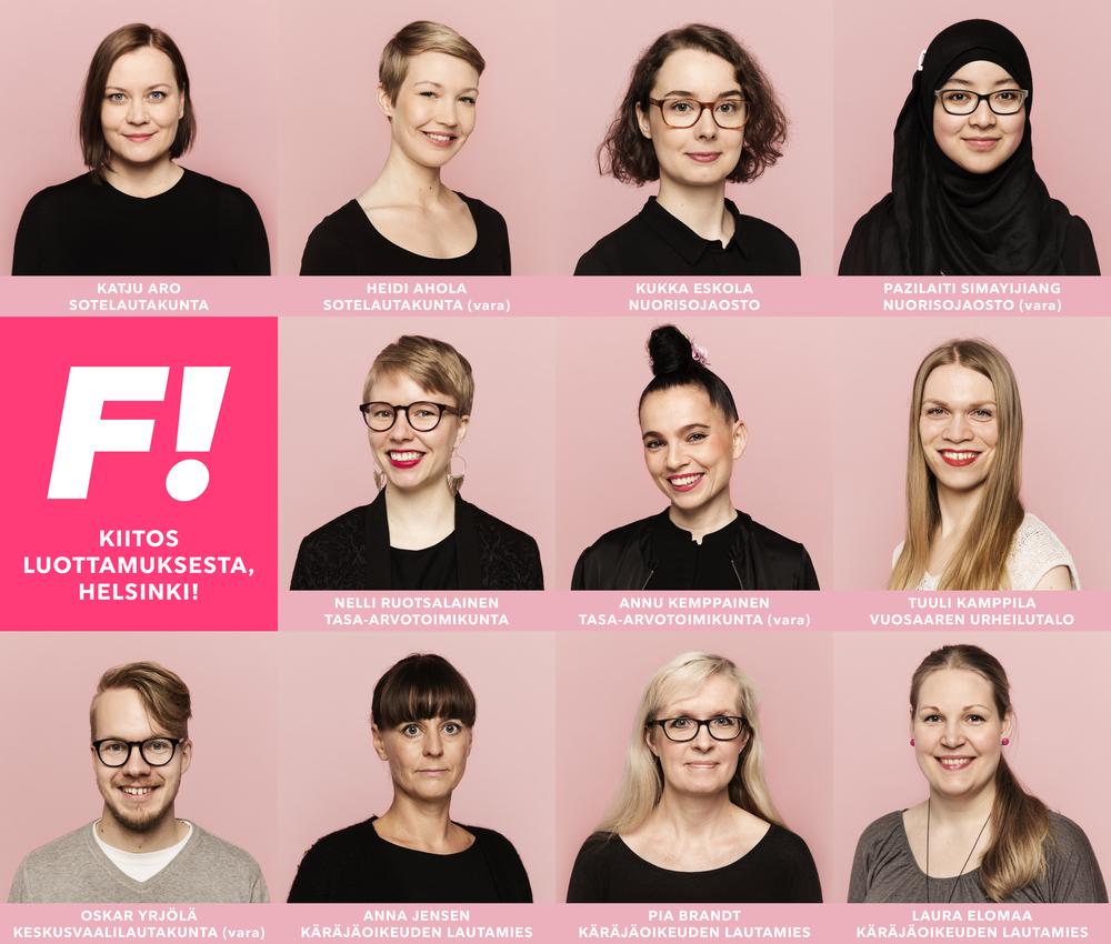 Feministisen puolueen uudet luottamushenkilöt Helsingissä.