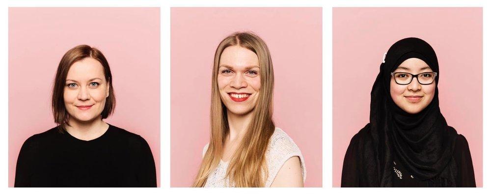 Feministisen puolueen ensimmäiset ehdokkaat Helsingissä: puolueen puheenjohtaja Katju Aro sekä varapuheenjohtajat Tuuli Kamppila ja Pazilaiti Simayijang.