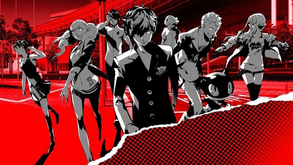 From left to right: Makoto, Ann, Yusuke, Joker (our protagonist), Haru, Ryugi, Moragna (the cat-like creature) and Futaba