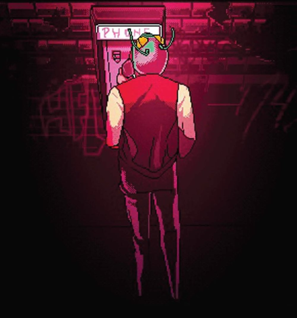 Carl  - A Hotline Miami fan comic with a story concept by Austin Wilson and DC Hopkins; Script by Austin Wilson; Illustrated and colored by Cera Kelly; Lettered by DC Hopkins.