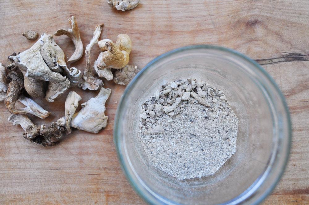 Dried mushrooms and dried mushroom powder. Do not snort.
