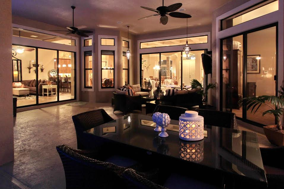 Jennifer creates an outdoor living space with ambiance lighting.