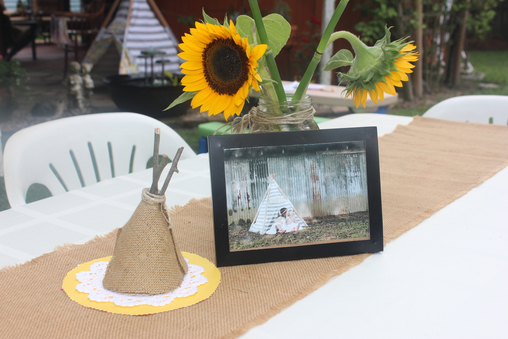 Centerpieces were put together by my mom! She found a pin on Pinterest, but basically these were made with burlap and sticks. She added a lace dolly for a final touch.