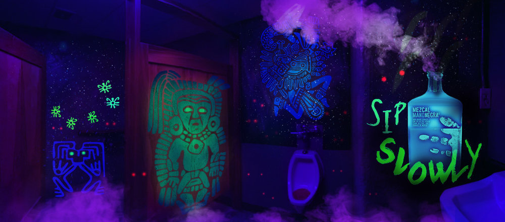 Mezcal michelle bird blacklight wall mural in bar bathroom smoke pours from bottle upon approach mozeypictures Gallery