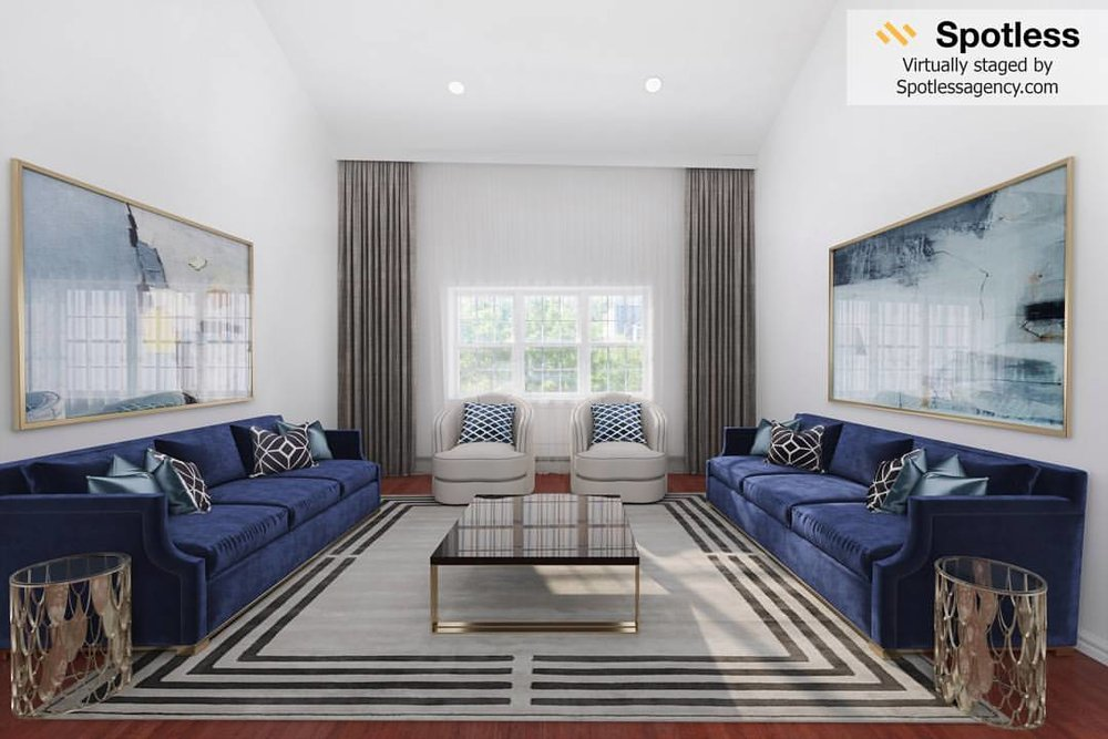 Living room virtual staging by Spotless Agency