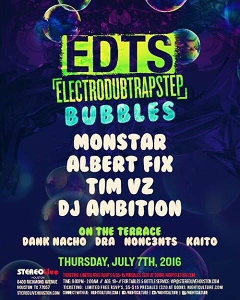 Come get your bubble on! @stereolive @nightculture #edts  will be on the terrace from 11-12. Come catch. @dejaymonstar @albert_fix @djtimvz @electro_conxtion @partywithkaito @danknacho420 on the decks! 💯🚀🍾🔥#nonc3nts #soundcloud #beatport  #ableton #madewithlive #sucias #push #edmlifestyle  #splice #house #ultra #wavo #edclv  #festival  #insomniac #ravebooty #nonc3ntsradio  #producer #dj #rage #edc #houstonravers #toneden  #talnts #edm #GVOS #nightculture  #stereolive