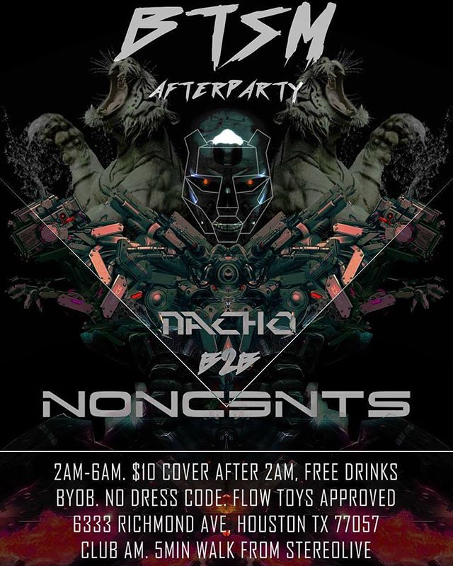 #Afterparty party don't stop tomorrow after @officialbtsm @stereolive  see y'all there @danknacho420 on the decks B2B @nonc3nts_live  @weareneonshadows @txfambam #byob