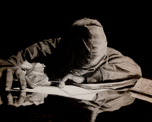 """Learning"" 2013, charcoal, 18 in x 24 in"