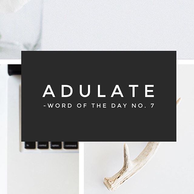 """adulate (v) ad•u•late; to praise someone excessively or obsequiously 