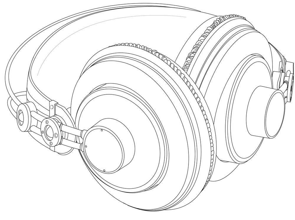 lineart drawing of headphones in illustrator