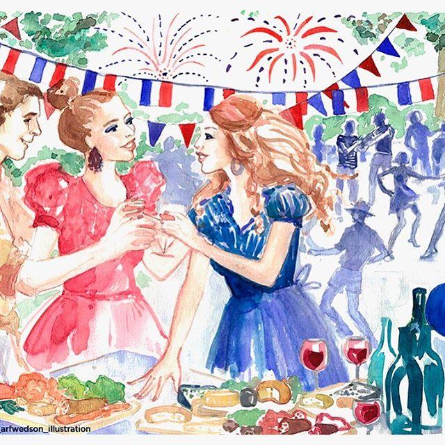 Fredagen 13:e juli kl.17-21 kom och fira med oss den franska nationaldagen!!! 🇫🇷 Letar ni efter den perfekta plats? Välkomna i Sophies Canelé med ost&chark tallrik, vin och MUSIK!  Börja er kväll med en fransk apéro och delta i en fransk karaoké med dina vänner!  Sakna inte årets storsta franska fest!!! 🎉🎊🇫🇷 #illustration @kerstin_arfwedson_illustration