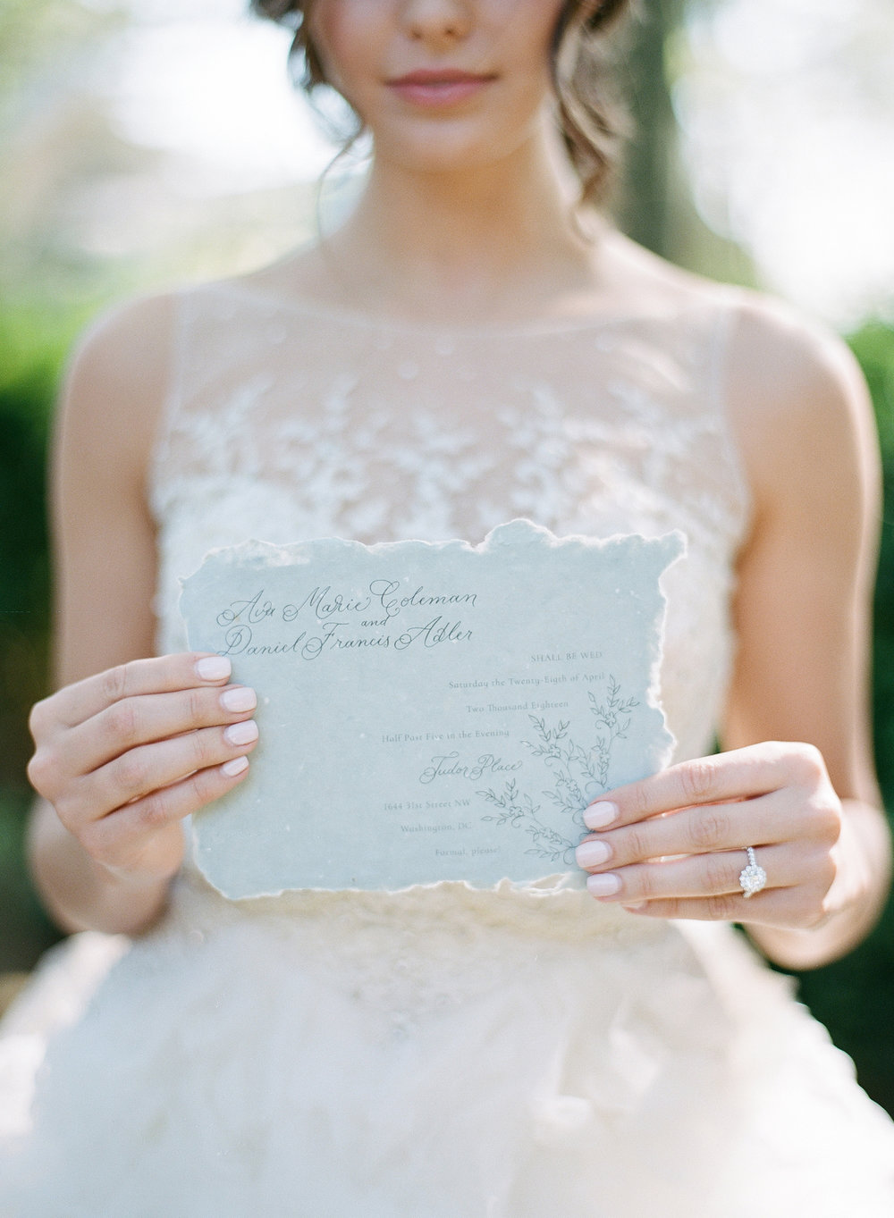 Design Details - The embroidery on the lace of the dress inspired me to create a similar pattern to feature on the wedding invitation. To highlight this, the text of the invitation flows from the pattern, as an extension of the design.