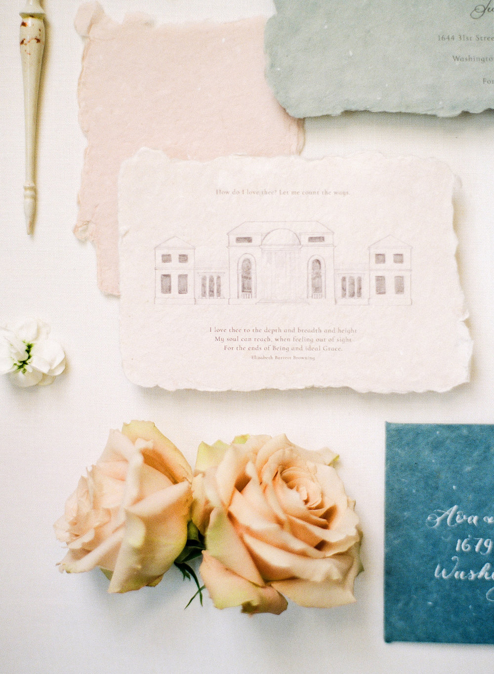 Tudor Place - When your venue is this gorgeous, you need a hand-drawn illustration and a love poem included in your invitation suite. It's a piece that your guests can treasure, and even frame.