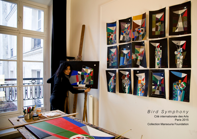 "Bird Symphony (series) Acrylic on paper/canvas Paris 2015 COLLECTION MANSOURIA FOUNDATION BIRD SYMPHONY is a collection of drawings made during my brief residency at the Cité Internationale des Arts Paris (Aug-Dec 2015) in response to the tragic mass migration we are witnessing world-over. In the name of Freedom and Democracy and in the name of Religion, atrocities are committed, the result of which innocent lives find themselves in pursuit of 'safety' outside their homelands, often jeopardizing their very lives in the process. Forced to leave everything behind; their beautiful lands, homes, loved ones, carrying nothing more than their sorrow-filled hearts and memories, not knowing what the future holds; it is a sad mad world. Yet still... ""Nothing is more powerful than beauty in a wicked world. Amos Lee"""