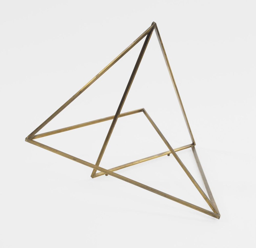 "In Tri-Triangle, 2005, brass, 27"" x 24"" x 22.5"""