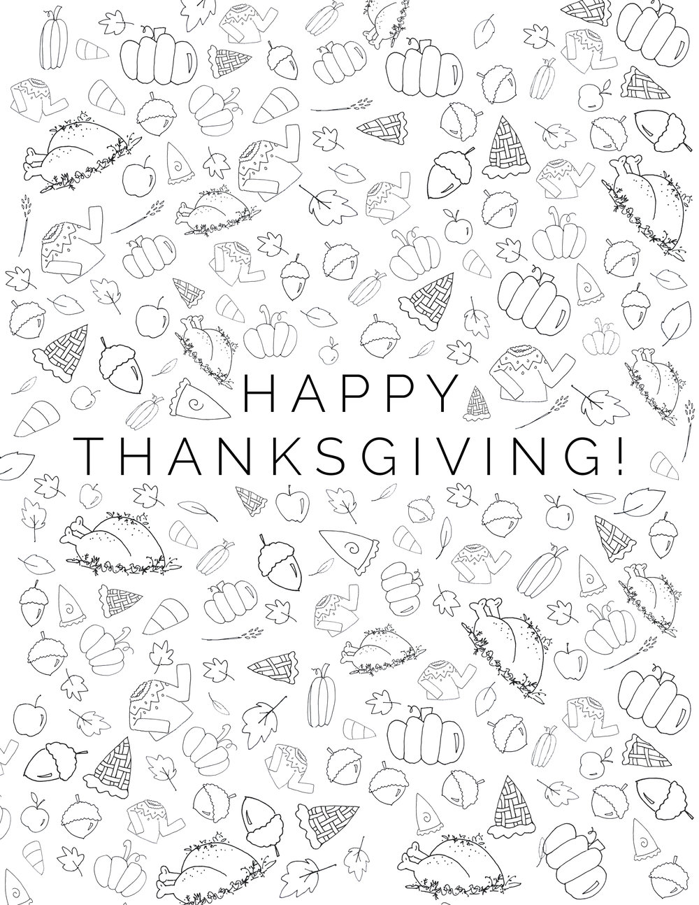 This cute, hand-drawn Thanksgiving coloring page is great for holiday events and parties for kids and adults!