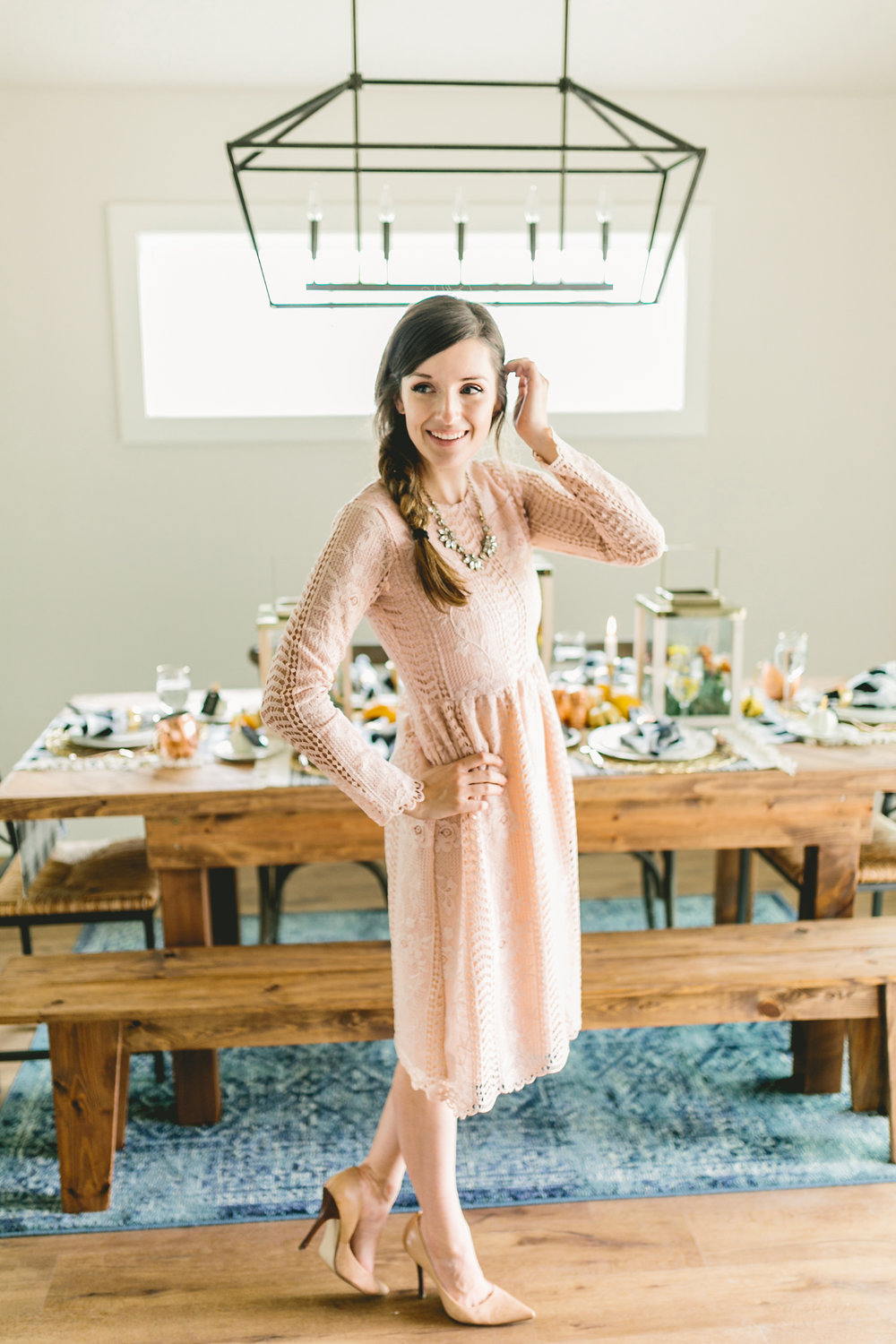 This blush lace dress is perfect for winter parties. Check out Claire Falco Creative for more holiday inspiration!
