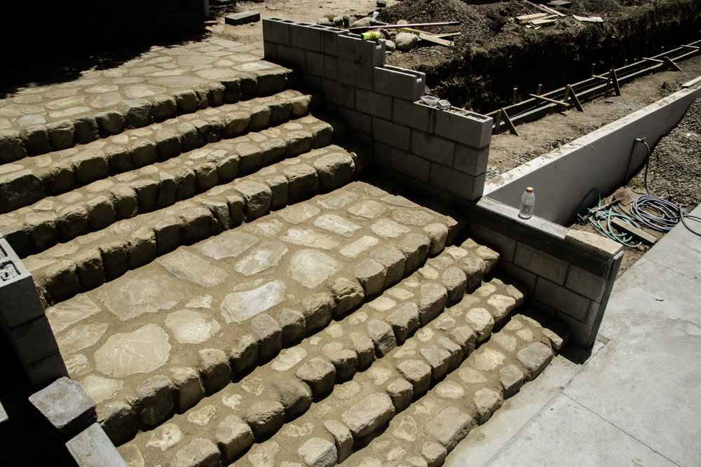 Mesa restoration: these steps originally were creek rocks with little stability. We kept the idea and made it into a work of art.