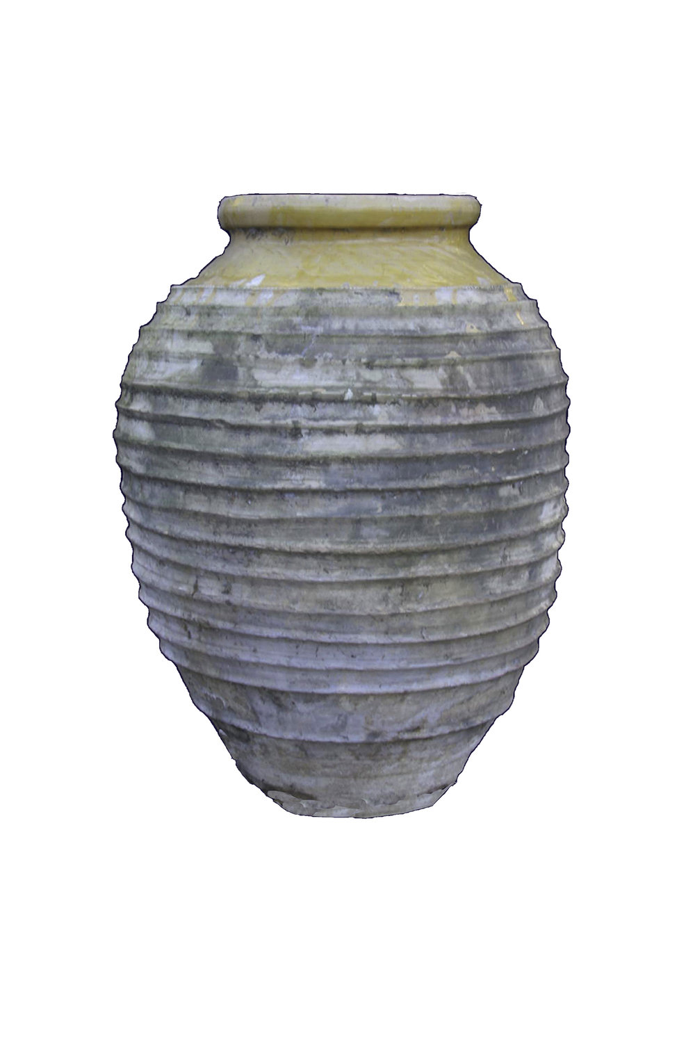 100-150 year old oil jar from Greece. I've owned this 15 years and was told the gypsies brought it by donkey down the mountains to Athens.   H- 29in   OD-21in  ID-8.5in
