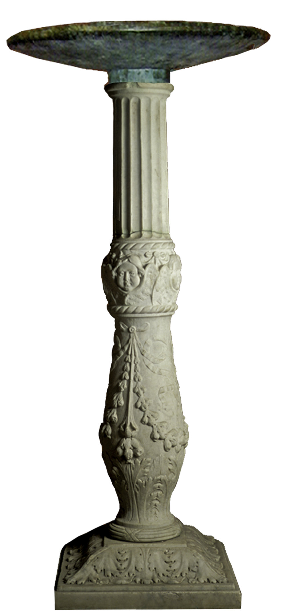 Hand carved stone post and plinth support with bronze birdbath. Italian 19th century. H- 48in  Base 16in sq. Bath OD 22in