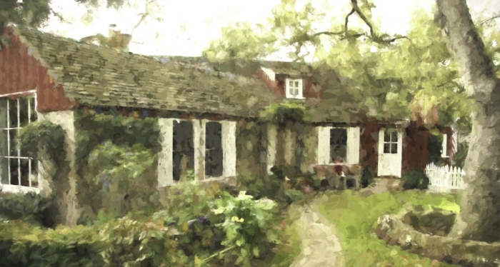 Moody Sisters house, near East Valley Road and village. style of Monet