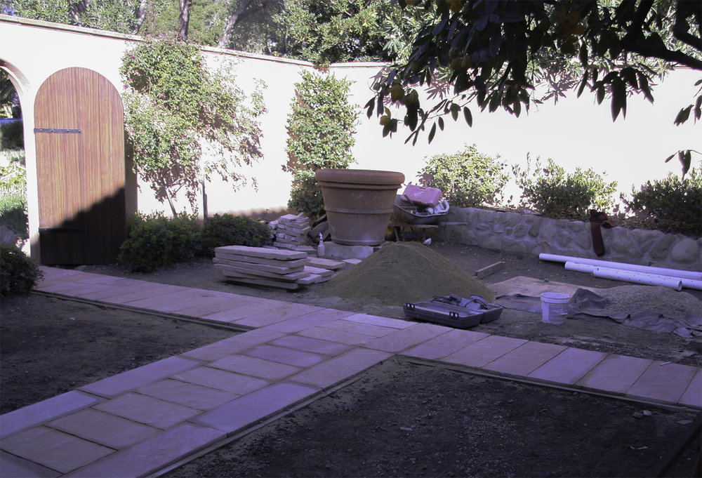 Construction of Montecito courtyard garden. See related photo, on the  home page