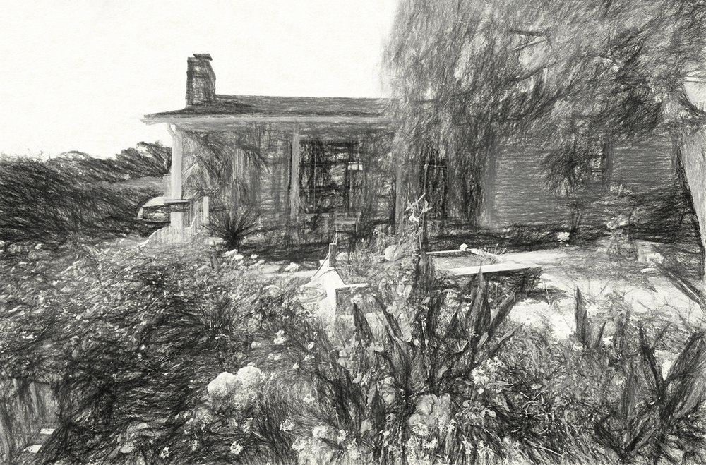 Samarkand cottage house as charcoal sketch
