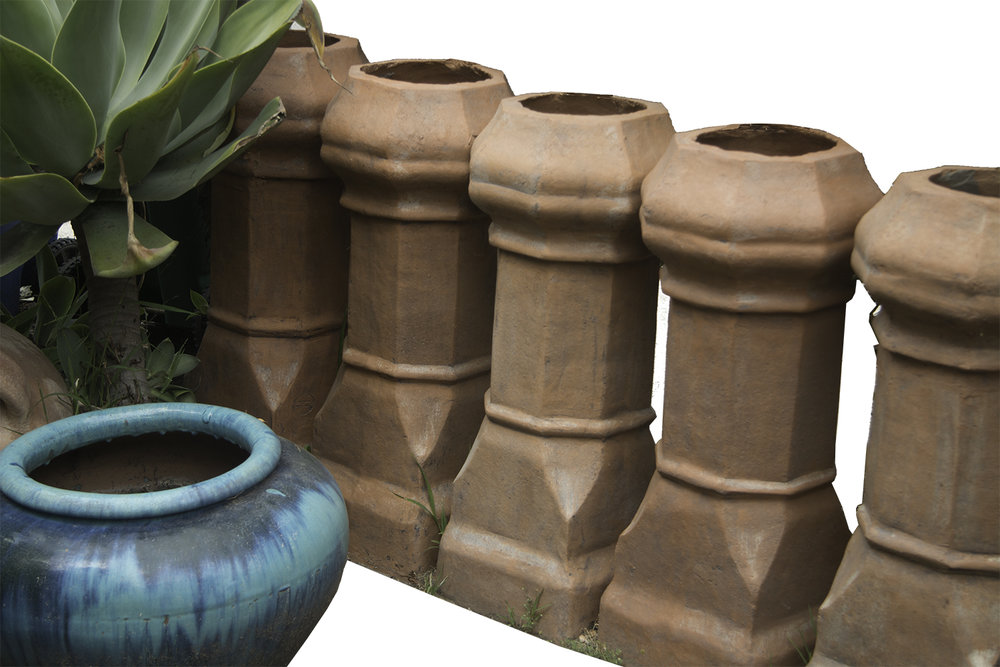 Eight of a kind: 100-yr old U.S. terra cotta chimney caps. 42-in. Maker's name imprinted. Great for garden focal point.