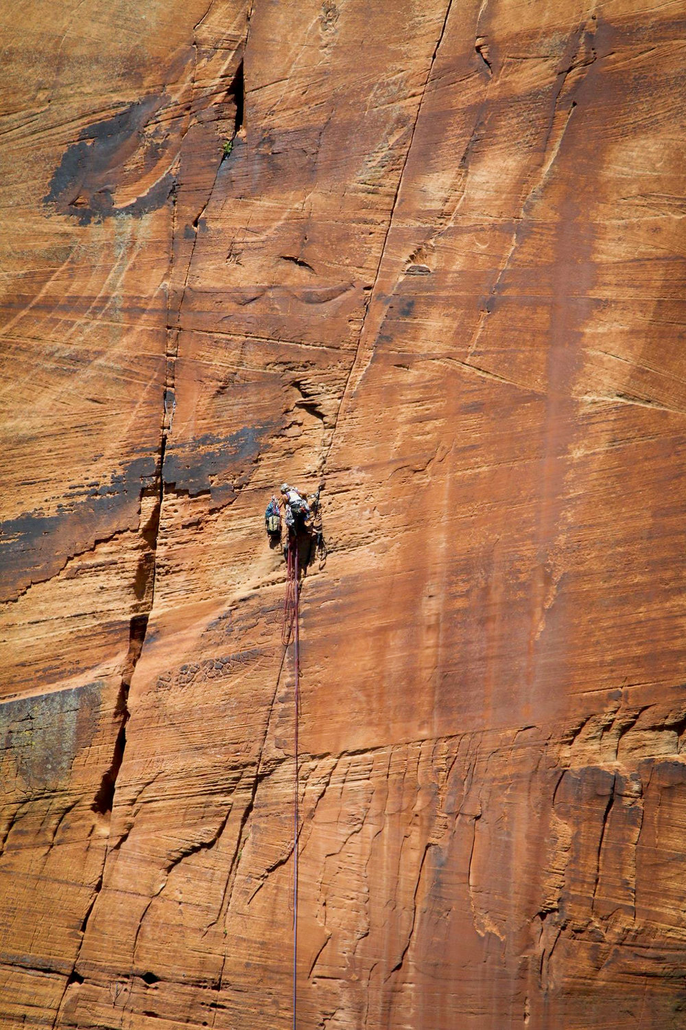 High up in a sea of sandstone on Space Shot, my first bigwall rope solo; completing the route took me two attempts á three days, and included a massive fall on the crux pitch.  Photo:  Travis Spaulding .